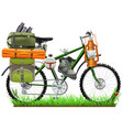 camping bicycle vector image vector image