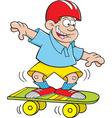 Cartoon boy riding a skate board vector image vector image