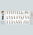 cartoon flat police girl character big set vector image vector image