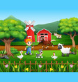 cartoon of a farmer at his farm with a bunch of fa vector image vector image