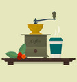 coffee set with coffee mill beans and cup vector image vector image