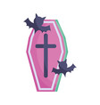 coffin and bats icon trick or treat happy vector image