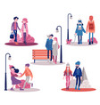 couple walking outdoors at autumn set vector image vector image