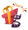 cute kitty characters with red gift vector image vector image