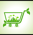 Ecology Concept - eco cityscape with shopping cart vector image vector image