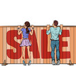 family looks over the fence sale house real vector image vector image