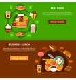 Fast Food Business Lunch Flat Banners vector image vector image