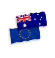 flags of australia and european union on a white vector image vector image