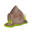 flat icon of large stone with drawing on vector image
