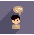 flat web icon with long shadow businessman thinks vector image vector image