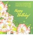 Floral decorative card with white amaryllis vector image