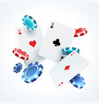 flying poker cards chips casino gambling vector image vector image
