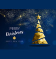 gold merry christmas and new year pine tree card vector image vector image