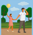 happy family father and daughter walking in the vector image vector image