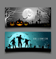 happy halloween pumpkin and zombies banners vector image vector image