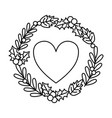 heart with wreath holly berry decoration vector image
