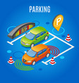 isometric parking colored background vector image vector image
