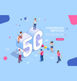 isometric people mobile generation vector image