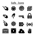 key and lock system icon set vector image