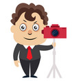 man with camera on white background vector image