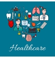 Medical icons and symbols background vector image vector image