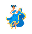 mexican dancer woman in blue dress isolated on vector image