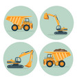 modern dump truck and functional excavator emblems vector image