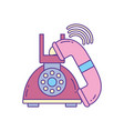 old telephone call phone fill and line vector image vector image