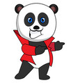 panda with red jacket on white background vector image vector image