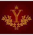 Patterned golden letter Y monogram in vintage vector image vector image
