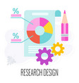 research design icons report pie chart flat vector image vector image