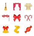 ribbon icons set cartoon style vector image vector image
