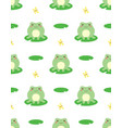 seamless pattern with cute frog vector image vector image
