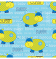 Seamless pattern with cute hippo and lattering vector image vector image