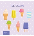 Set of ice-creams and popsicles vector image vector image