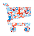 Shopping cart icons texture vector image vector image