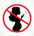 silhouette of a pregnant woman smoking a cigarette vector image vector image