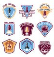 space camp emblems rocket launch astronaut vector image vector image