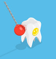 strong teeth flat isometric concept vector image