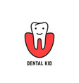 thin line icon of children dentistry vector image vector image