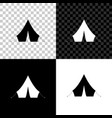 tourist tent icon isolated on black white and vector image vector image