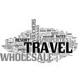 wholesale travel gets you there cheaper text word vector image vector image