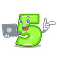 with laptop character number five at wooden door vector image vector image