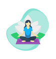women do yoga pose with lotus flower in back vector image vector image