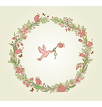 wreath of pink flowers leaves and bird vector image vector image