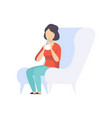 young woman sitting in a chair and drinking a vector image vector image