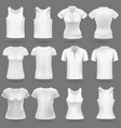 white blank 3d t-shirt templates for man vector image