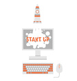 start up rocket from screen vector image