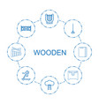8 wooden icons vector image vector image