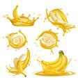 banana juice liquid yellow drops from bannanas vector image vector image